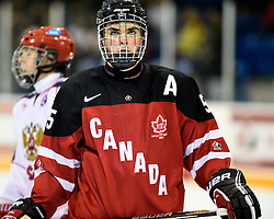 Dante Fabbro represented Team Canada Red at the World Under-17 Hockey Challenge in Sarnia and Lambton, ON November 2-8, 2014. Photo by Aaron Bell/CHL Images
