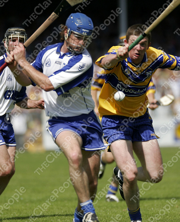 Diarmuid McMahon commits to the block during Clare's championship game against Waterford in Ennis on Sunday.<br />