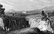 Excavation leading to the remains of Herculaneum buried in the eruption of Vesuvius in 79 AD. Copperplate engraving 1815.