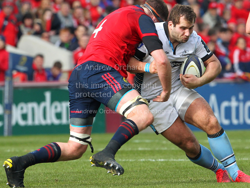 Donnacha Ryan of Munster stops Fraser Brown of Glasgow Warriors. European Rugby Champions cup match, pool one, Munster Rugby v Glasgow Warriors at Thomond Park in Limerick , Ireland on Saturday 22nd October 2016.<br /> pic by  John Halas, Andrew Orchard sports photography.