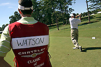 Pro Caddie, Ted Scott, watches as PGA rookie, Bubba Watson, tees off the 16th hole during  the first day of the Pro Am that was held at Forest Oaks golf club in Greensboro, NC Monday October 2, 2006&amp;#xD;Photo by David Duncan&amp;#xD;<br />