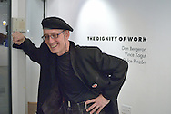 """Bernie Helling of Artcite Inc. relaxed a bit after the opening reception of """"The Dignity of Work' a group show that is part of MayWorks Windsor 2014."""