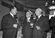 01/04/1963<br /> 04/01/1963<br /> 01 April 1963<br /> SPAR reception at the Shelbourne Hotel, Dublin. The reception announced the formation of SPAR (Ireland) Ltd. comprised of the Irish Wholesale Grocers Firms: Amalgamated Wholesalers Ltd., (P. Barrett and Sons Ltd., Dublin; D. Tyndall and Sons Ltd., Dublin and McNulty and O'Reilly Ltd., Bray); Munster United Merchants Ltd., (Maurice P. Daly Ltd., Cork and The Jamaica Banana Co. Cork) and Messrs Looney and Co. Ltd., Limerick. Picture shows Mr. P.J. Loughrey, Managing Director, Messrs Batchelor and Co. Ltd., Mr. P. Barrett and Mr. Charles Hogg (Goodall Ltd.).