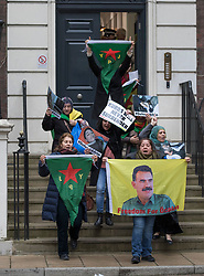 © Licensed to London News Pictures. 29/01/2018. London, UK. A Kurdish women's group of protestors leave Conservative Central Office after occupying it for just over an hour. Police say the group of 12, who are calling on a ban of arms sales to Turkey, entered the building just before 2pm. Photo credit: Peter Macdiarmid/LNP