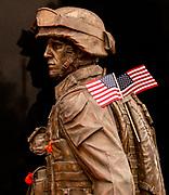 US Marine Bronze Sculpture at Field of Honor Memorial Site in Newport Beach