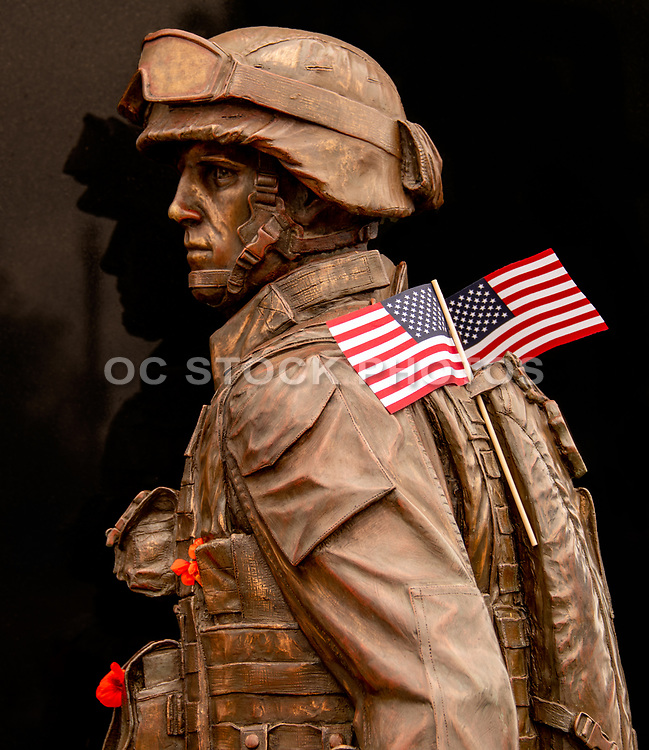 US Marine Bronze Sculpture at Field of Honor Memorial Site in Newport Beach