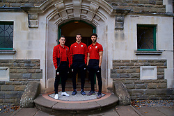 CARDIFF, WALES - Tuesday, November 13, 2018: Wales' Connor Roberts, James Lawrence and Tyler Roberts pose for a portrait during a media session at the St Fagans National Museum of History ahead of the UEFA Nations League Group Stage League B Group 4 match between Wales and Denmark. (Pic by David Rawcliffe/Propaganda)