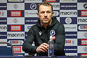 Millwall manager Gary Rowett answers questions at the post-match press conference after the EFL Sky Bet Championship match between Millwall and Brentford at The Den, London, England on 29 December 2019.