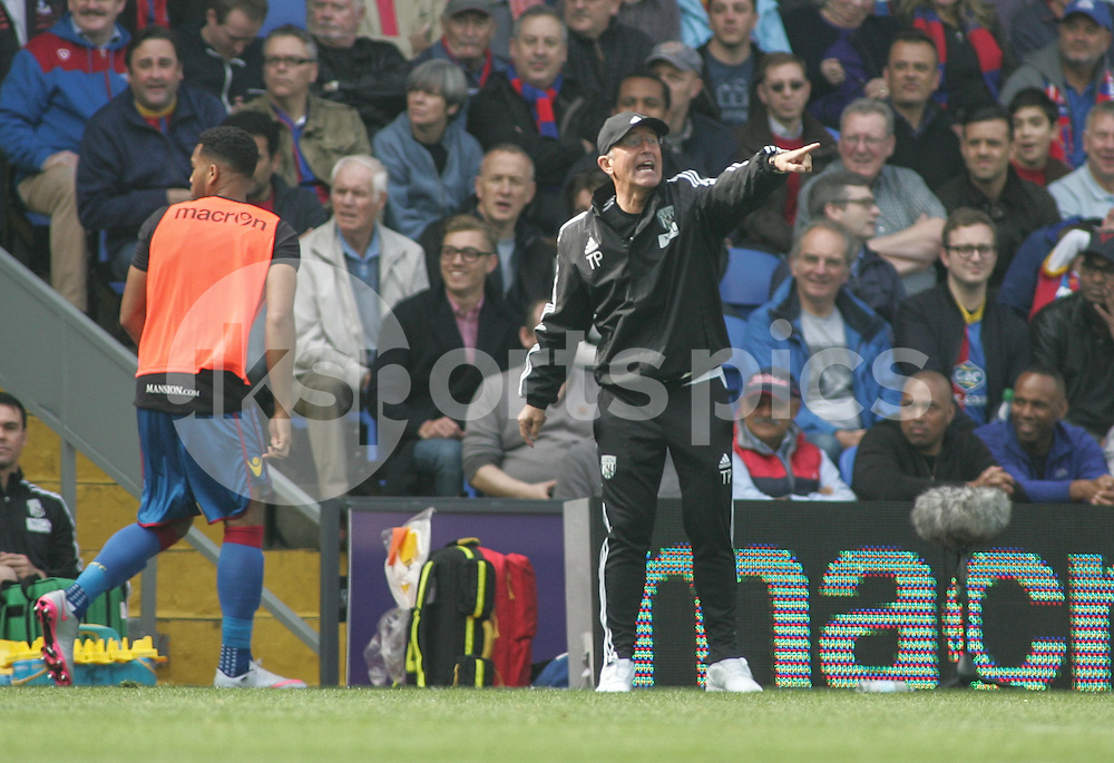West Bromwich Albion Manager Tony Pulis during the Barclays Premier League match between Crystal Palace and West Bromwich Albion at Selhurst Park, London, England on 3 October 2015. Photo by Ken Sparks.