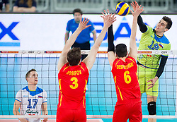 Klemen Cebulj of Slovenia during volleyball match between National teams of Slovenia and F.Y.R. Macedonia in Qualifications for 2015 CEV Volleyball European Championship - Men on May 24, 2014 in Arena Stozice, Ljubljana, Slovenia. Photo by Vid Ponikvar / Sportida