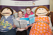 REPRO FREE: Eadaoin  Nic Dhonnacha and Cainnear Nic Reannoinn from Scoil Sailearna Indreabhain at the Galway Education Centre's Scriobh Leabhair at the Radisson Blu hotel where national school pupil wrote and Illustrated their own books. Photo:Andrew Downes, xposure.