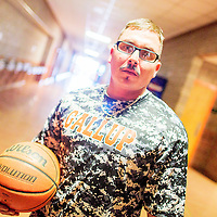 060915  Adron Gardner/Independent<br /> <br /> Richard Rangel poses for a portrait at Gallup High School Tuesday.  Rangel will replace Dominic Romero as the varsity boys basketball coach for the 2015-16 season.