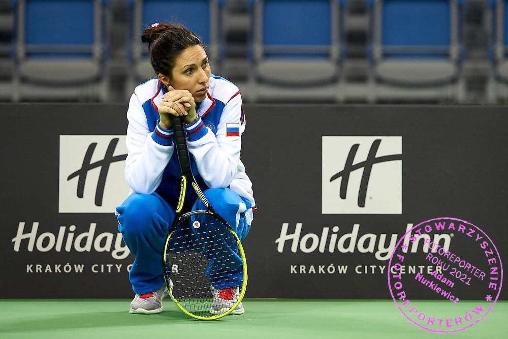 Trainer coach Anastasia Myskina from Russia during official training session two days before the Fed Cup / World Group 1st round tennis match between Poland and Russia at Krakow Arena on February 5, 2015 in Cracow, Poland.<br /> <br /> Poland, Cracow, February 5, 2015<br /> <br /> Picture also available in RAW (NEF) or TIFF format on special request.<br /> <br /> For editorial use only. Any commercial or promotional use requires permission.<br /> <br /> Adam Nurkiewicz declares that he has no rights to the image of people at the photographs of his authorship.<br /> <br /> Mandatory credit:<br /> Photo by &copy; Adam Nurkiewicz / Mediasport