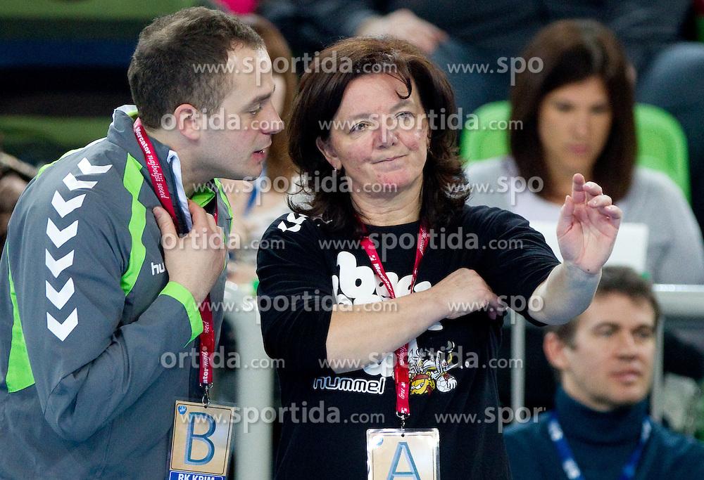 Assistant coach of Krim Joze Percic and head coach Marta Bon  during handball match between RK Krim Mercator (SLO) and Itxako Reyno de Navarra (ESP) in Main Round of Women's Champions league, on February  4, 2011 at SRC Stozice, Ljubljana, Slovenia. (Photo By Vid Ponikvar / Sportida.com)