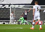 Milton Keynes Dons forward Simon Church has a goal disallowed for offside during the Sky Bet Championship match between Milton Keynes Dons and Derby County at stadium:mk, Milton Keynes, England on 26 September 2015. Photo by David Charbit.