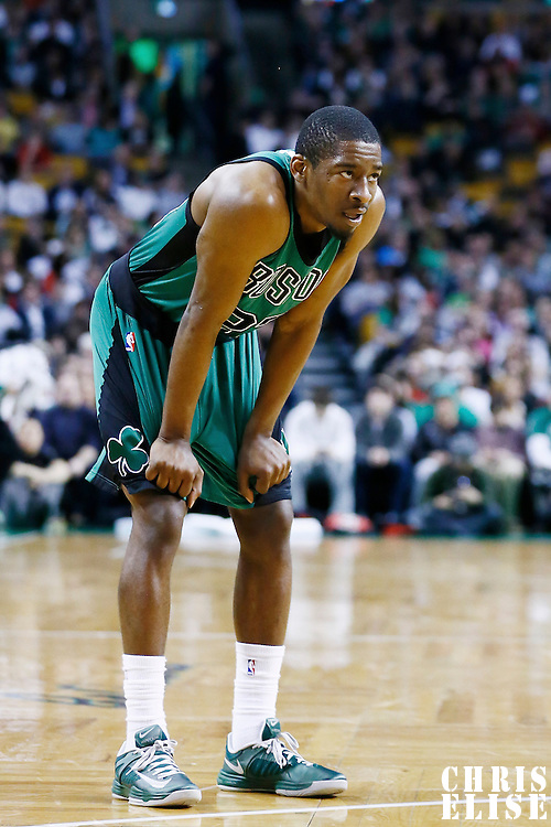 13 March 2013: Boston Celtics shooting guard Jordan Crawford (27) rests during the Boston Celtics 112-88 victory over the Toronto Raptors at the TD Garden, Boston, Massachusetts, USA.