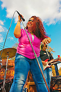 "Blues singer Sweet Suzi Smith and guitarist John Puglisi of ""Sweet Suzi & Sugafixx"" performing at Merrick Street Fair in Merrick, New York, USA, on October 22-23, 2011"