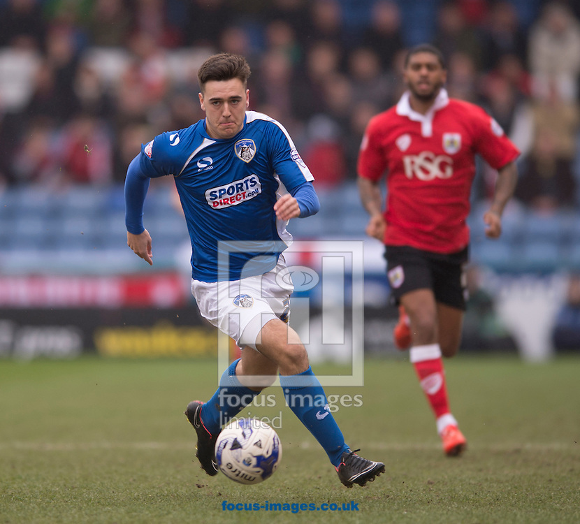 Rhys Turner of Oldham Athletic brings the ball forward during the Sky Bet League 1 match at Boundary Park, Oldham<br /> Picture by Russell Hart/Focus Images Ltd 07791 688 420<br /> 03/04/2015