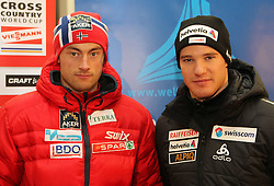 28.12.2011, DKB-Ski-ARENA, Oberhof, GER, Viessmann FIS Tour de Ski 2011, Pressekonferenz,im Bild Petter Northug (Norwegen) und Dario Cologna.(Schweiz). // during of Viessmann FIS Tour de Ski 2011, in Oberhof, GERMANY, 2011/12/28.. EXPA Pictures © 2011, PhotoCredit: EXPA/ nph/ Hessland..***** ATTENTION - OUT OF GER, CRO *****