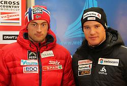 28.12.2011, DKB-Ski-ARENA, Oberhof, GER, Viessmann FIS Tour de Ski 2011, Pressekonferenz,im Bild Petter Northug (Norwegen) und Dario Cologna.(Schweiz). // during of Viessmann FIS Tour de Ski 2011, in Oberhof, GERMANY, 2011/12/28.. EXPA Pictures © 2011, PhotoCredit: EXPA/ nph/ Hessland..***** ATTENTION - OUT OF GER, CRO *****