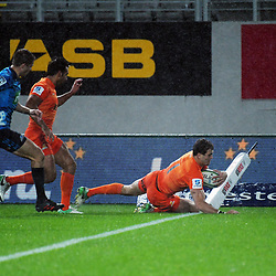 Emiliano Boffelli scores during the Super Rugby match between the Blues and Jaguares at Eden Park in Auckland, New Zealand on Friday, 28 April 2018. Photo: Dave Lintott / lintottphoto.co.nz