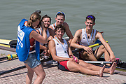"""Plovdiv BULGARIA. 2017 FISA. Rowing World U23 Championships. <br /> """"In The Picture"""", Silver Medalist, USA BLM4-. Bow. GLEIM, John, TREUBERT, Austin, JAMES, Kyle  and LAMONTE, Vincent. Have their picture taken after the awards Ceremony<br />  <br /> A Final Sunday.<br /> <br /> 11:56:38  Sunday  23.07.17   <br /> <br /> [Mandatory Credit. Peter SPURRIER/Intersport Images]."""