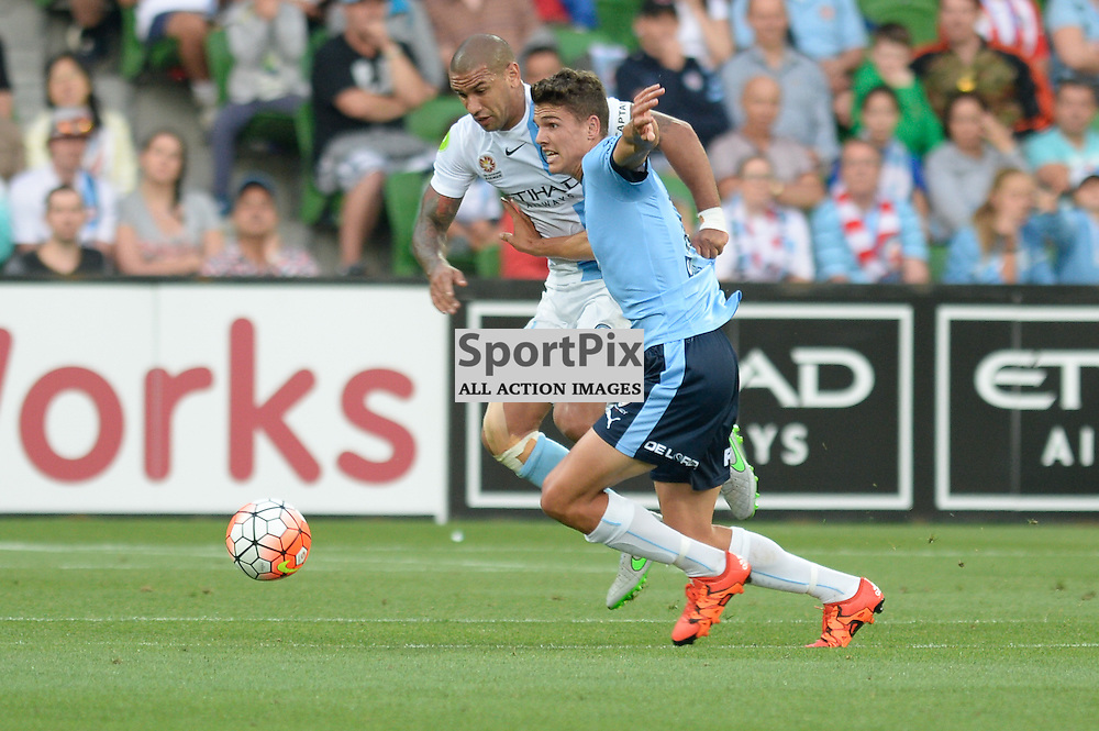 Patrick Kisnorbo of Melbourne City, George Blackwood of Sydney FC - Hyundai A-League, January 2nd 2016, RD13 match between Melbourne City FC V Sydney FC at Aami Park, Melbourne, Australia in a 2:2 draw. © Mark Avellino | SportPix.org.uk