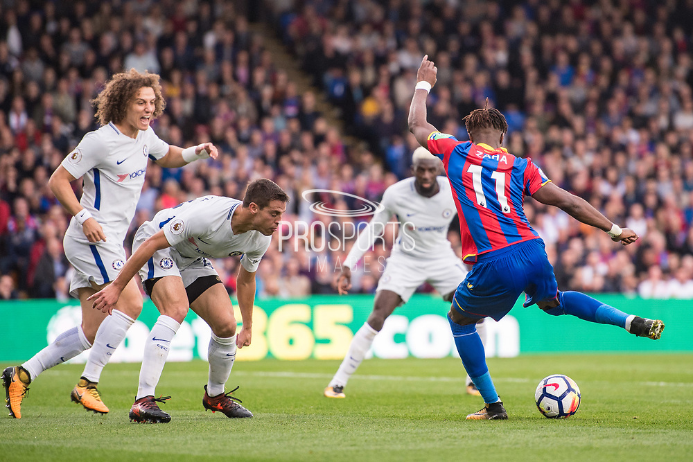 Chelsea (28) César Azpilicueta, Chelsea (30) David Luiz, Crystal Palace #11 Wilfried Zaha during the Premier League match between Crystal Palace and Chelsea at Selhurst Park, London, England on 14 October 2017. Photo by Sebastian Frej.