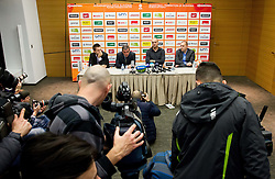 Anze Blazic, Roman Volcic, Jure Zdovc and Matej Avanzo during press conference of KZS when was Jure Zdovc presented as a new head coach of Slovenia basketball team on January 15, 2014 in Hotel Plaza,  Ljubljana, Slovenia. Photo by Vid Ponikvar / Sportida
