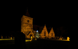 Aberlady, East Lothian, Scotland, United Kingdom, 9th December 2019. Christmas decorations around the villages. Aberlady Parish Church has a Christmas tree. <br /> Sally Anderson | EdinburghElitemedia.co.uk