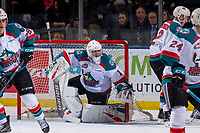 KELOWNA, CANADA - JANUARY 9: James Porter #1 of the Kelowna Rockets defends the net against the Everett Silvertips on January 9, 2019 at Prospera Place in Kelowna, British Columbia, Canada.  (Photo by Marissa Baecker/Shoot the Breeze)