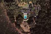 Aerial of Phillips home in the Napa Valley with gardens designed by Thomas Church. Napa Valley, California.