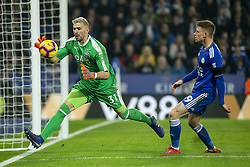 February 23, 2019 - Leicester, England, United Kingdom - Vicente Guaita of Crystal Palace with Harvey Barnes of Leicester City during the Premier League match between Leicester City and Crystal Palace at the King Power Stadium, Leicester on Saturday 23rd February 2019. (Credit Image: © Mi News/NurPhoto via ZUMA Press)