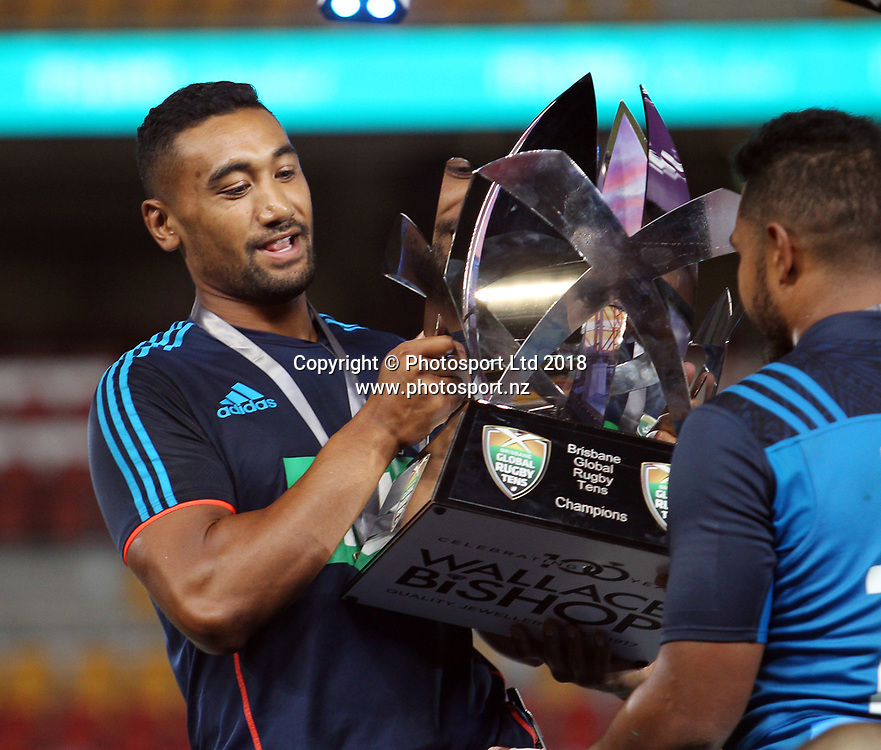 Blues captain Jimmy Tupou with the trophy after winning the final match between the Hurricanes and the Blues during the Global Tens Tournament at Suncorp Stadium, Brisbane, Australia on February 10, 2018. Photo : Tertius Pickard / www.photosport.nz