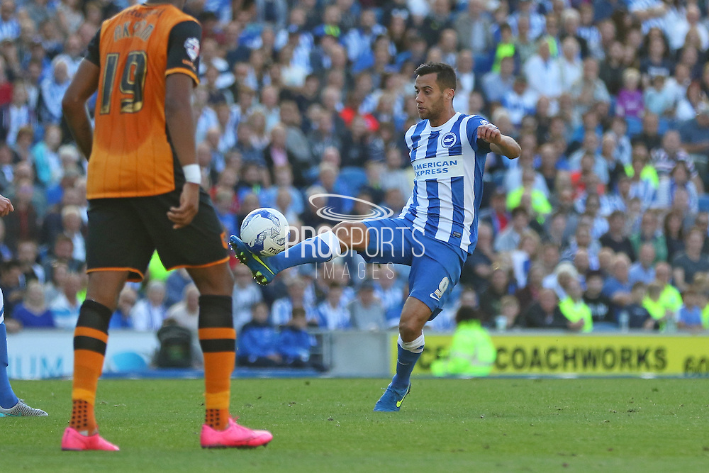 Brighton striker, Sam Baldock controls the ball during the Sky Bet Championship match between Brighton and Hove Albion and Hull City at the American Express Community Stadium, Brighton and Hove, England on 12 September 2015. Photo by Phil Duncan.