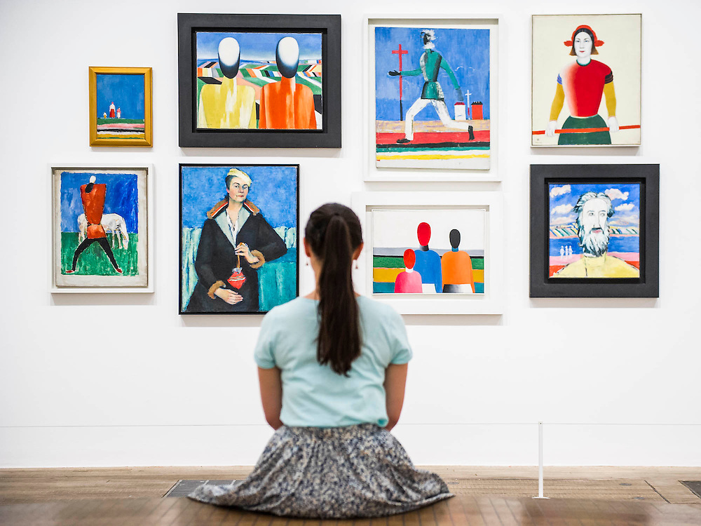 Tate Modern's new exhibition, of the avant-garde work of Russian Kazimir Malevich. Here a room full of his Last Paintings in the 1930's. Tate Modern, Bankside, London, UK.