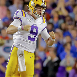 Oct 12, 2019; Baton Rouge, LA, USA; LSU Tigers quarterback Joe Burrow (9) celebrates after a touchdown against the Florida Gators during the fourth quarter at Tiger Stadium. Mandatory Credit: Derick E. Hingle-USA TODAY Sports
