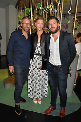 Left to right, NOE DUCHAUFOUR-LAWRANCE, ARIZONA MUSE and BONIFACE VERNEY-CARRON at the opening of L'Eden by Perrier-Jouet held at The Unit, 147 Wardour Street, Soho, London on 15th September 2016.