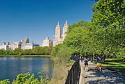 "The Jacqueline Kennedy Onassis Reservoir, ""The Reservoir,"" and the jogging track, with a view of Central Park West and The El Dorado apartment building, Central Park, New York City."