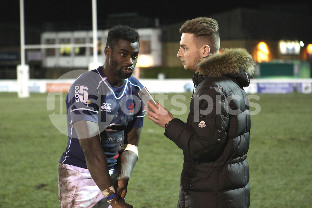 Matt Williams is interviewed after the Green King IPA Championship match between London Scottish &amp; Cornish Pirates at Richmond, Greater London on 16th January 2015<br /> <br /> Photo: Ken Sparks | UK Sports Pics Ltd<br /> London Scottish v Cornish Pirates, Green King IPA Championship, 16h January 2015<br /> <br /> &copy; UK Sports Pics Ltd. FA Accredited. Football League Licence No:  FL14/15/P5700.Football Conference Licence No: PCONF 051/14 Tel +44(0)7968 045353. email ken@uksportspics.co.uk, 7 Leslie Park Road, East Croydon, Surrey CR0 6TN. Credit UK Sports Pics Ltd