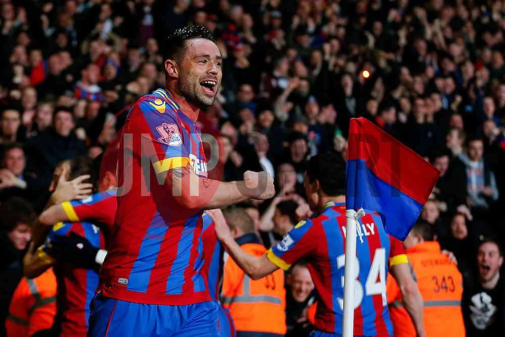 Damien Delaney celebrates after Glenn Murray of Crystal Palace (not pictured) scores a goal to make it 1-0 - Photo mandatory by-line: Rogan Thomson/JMP - 07966 386802 - 06/04/2015 - SPORT - FOOTBALL - London, England - Selhurst Park - Crystal Palace v Manchester City - Barclays Premier League.