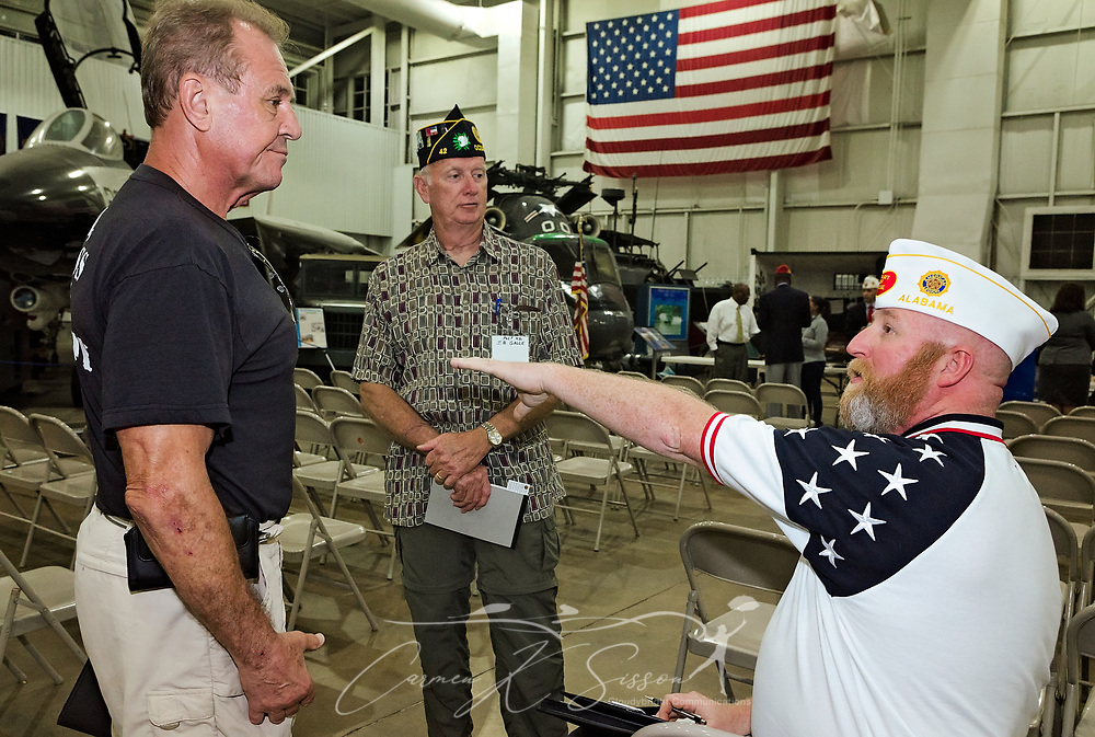 Veterans Richard Rydin and J.B. Galle talk with Department of Alabama Adjutant Greg Akers following the Mobile SWS Town Hall at USS Alabama Battleship Memorial Park in Mobile, Ala., on Friday, April 3, 2017. (Photo by Carmen K. Sisson/Cloudybright)