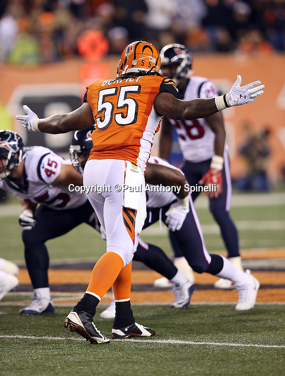 Cincinnati Bengals outside linebacker Vontaze Burfict (55) waves his arms during the 2015 week 10 regular season NFL football game against the Houston Texans on Monday, Nov. 16, 2015 in Cincinnati. The Texans won the game 10-6. (©Paul Anthony Spinelli)