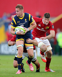 Jack O'Donoghue of Munster Rugby tackles CJ Van Velze of Worcester Warriors<br /> <br /> Mandatory by-line: Cathal Noonan/JMP - 26/8/2016 - RUGBY - Irish Independent Park - Cork, - Munster v Worcester - Pre-Season Friendly