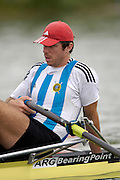 2005 FISA Rowing World Cup Munich, GERMANY. 17.06.2005;.ARG  M1X Santiago Fernandez, relaxs at the start before his morning heat, on the opening day of the regatta. Photo Peter Spurrier.email images@intersport-images...[Mandatory Credit Peter Spurrier/ Intersport Images] Rowing Course, Olympic Regatta Rowing Course, Munich, GERMANY