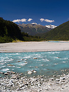 Looking up the Whataroa River and into the Southern Alps, West Coast, New Zealand