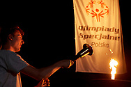 Katowice, Poland - 2018 June 09: Special Olympics Athlete Piotr Brodowski holds Olympic Flame while Opening Ceremony of National Special Olympics Games 2018 at Spodek Hall on June 09, 2018 in Katowice, Poland.<br /> <br /> Adam Nurkiewicz declares that he has no rights to the image of people at the photographs of his authorship.<br /> <br /> Picture also available in RAW (NEF) or TIFF format on special request.<br /> <br /> Any editorial, commercial or promotional use requires written permission from the author of image.<br /> <br /> Image can be used in the press when the method of use and the signature does not hurt people on the picture.<br /> <br /> Mandatory credit:<br /> Photo by © Adam Nurkiewicz / Mediasport