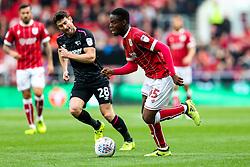 Jonathan Leko of Bristol City is challenged by David Nugent of Derby County - Rogan/JMP - 16/09/2017 - Ashton Gate Stadium - Bristol, England - Bristol City v Derby County - Sky Bet Championship.