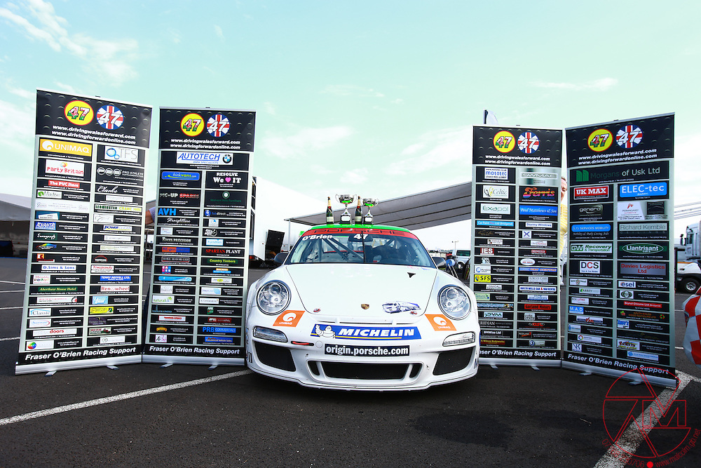 Porsche Carrera Cup GB 2012.Snetterton, Norfolk..ROUND 11&12.10th, 11th&12th August 2012.Fraiser O'Brien (GBR) GT Marques.Images copyright Malcolm Griffiths..Contact:07768 230706.info@mgphoto.uk.com.www.malcolm.gb.net