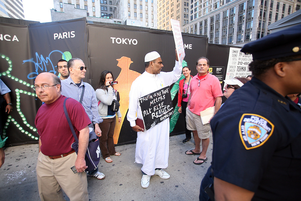 Protester on the 9-year anniversary of 911. New York, New York 2010
